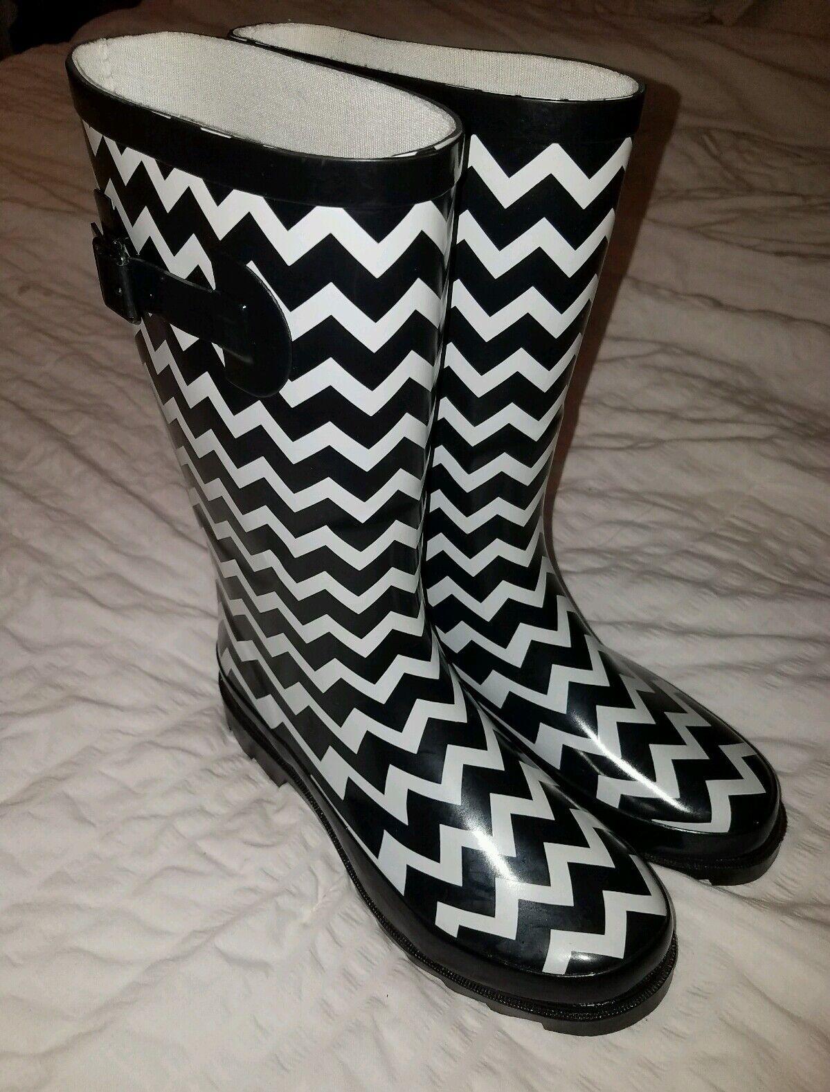 Flat Wellies\ Mid Calf Rubber Rain & Snow Boots Size Medium 7 /8