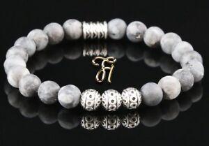Larvikit-Armband-Bracelet-Perlenarmband-Silber-Beads-Buddha-grau-matt-8mm