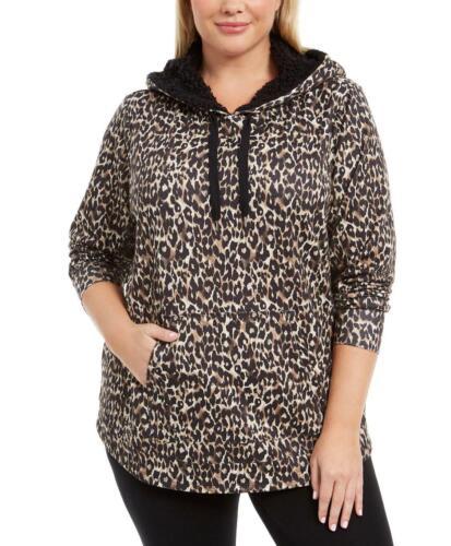 NWT Ideology Animal Leopard//Cheetah Printed Round-Hem Hoodie Plus /& Reg MSRP $64