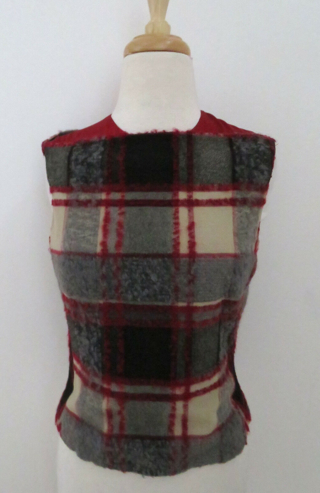 ETRO wool plaid Sleeveless top 38 4 Silk Charmeuse lined