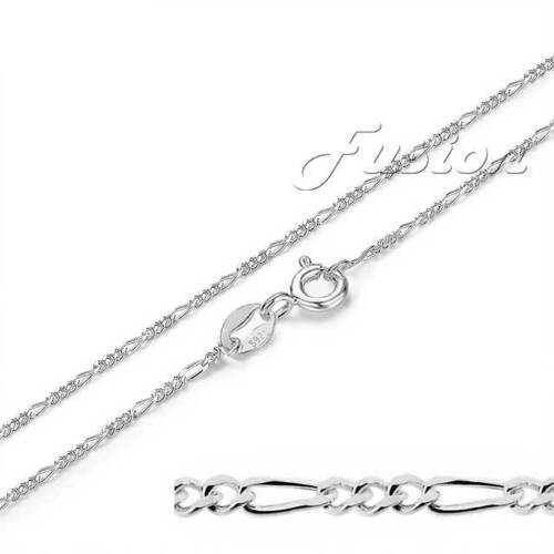 """.925 Sterling Silver 1mm Fine Figaro Chain Necklace 16/"""" or 18/"""" Long"""