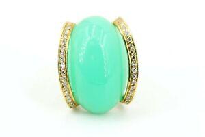 Gold-Ring-750-Diamant-Chrysopras-Gold-18K-32-Achtkant-ca-0-32ct-VS1-H-Gr-55