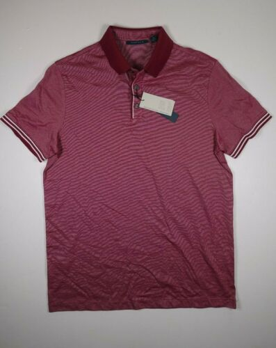 Details about  /PERRY ELLIS Maroon White Microstripe Rugby Polo Shirt **NEW Medium Med M