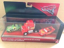 DISNEY CARS DIECAST -Cars 3 Racing 3 Pack -Cars 3 Mack, Chick Hicks With Headset