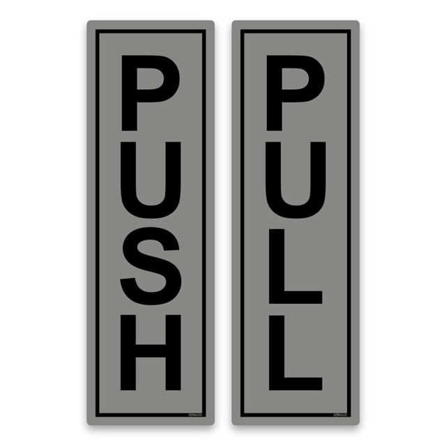 Push /& Pull Door Signs 6x19cm Black Signs on White Self-adhesive Vinyl Stickers