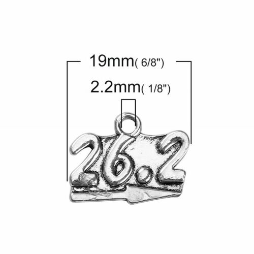 5 Or 10PCs 26.2 Marathon 18mm Antiqued Silver Plated Running Charms C5126-2