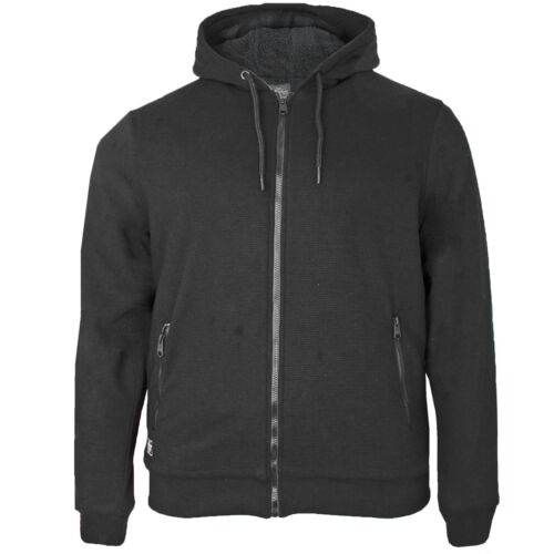 Mens Threadbare Big Size Sherpa Borg Lined Zip Hoodie Winter Hooded Sweatshirt