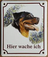 Rottweiler Hunde Hund Email Emaille Schild Warnschild Hier Wache Ich
