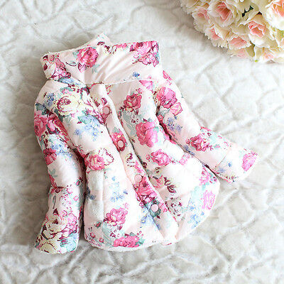 Baby Girls Winter Warm Coat Thickened Floral Stand Collar Down Jacket Snowsuit