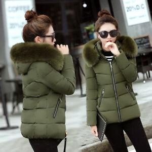 New-Winter-Women-Down-Cotton-Warm-Jacket-Slim-Short-Fur-Collar-Hooded-Coat-Parka