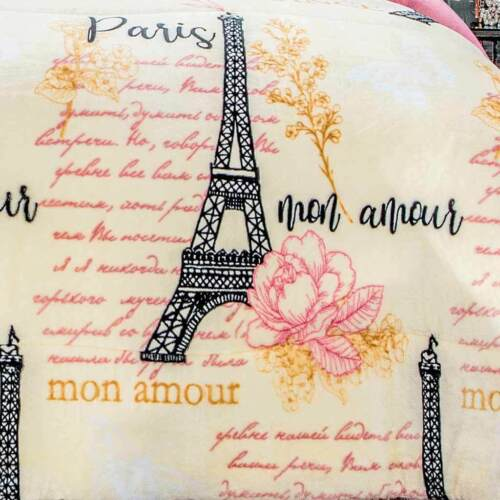 Eiffel Tower Paris Flannel Extra Soft Blanket With Thick Wadding Twin-Full 1PC
