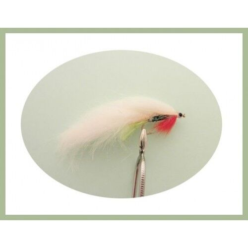 Mixed Size 8//10 Zonkers 6 White Green Belly Zonker Fly Fishing Trout Flies