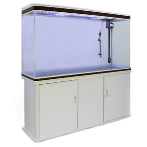 Aquarium-a-bords-Blanc-et-Noisette-de-300-Litres-avec-Meuble-de-Support-Blanc
