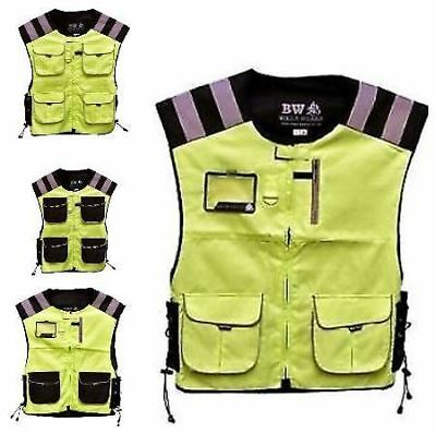 MOTORCYCLE CYCLE SECURITY AND WATER RESISTANT HI VIZ VEST WAISTCOAT 4 Pocket Yellow, L//XL