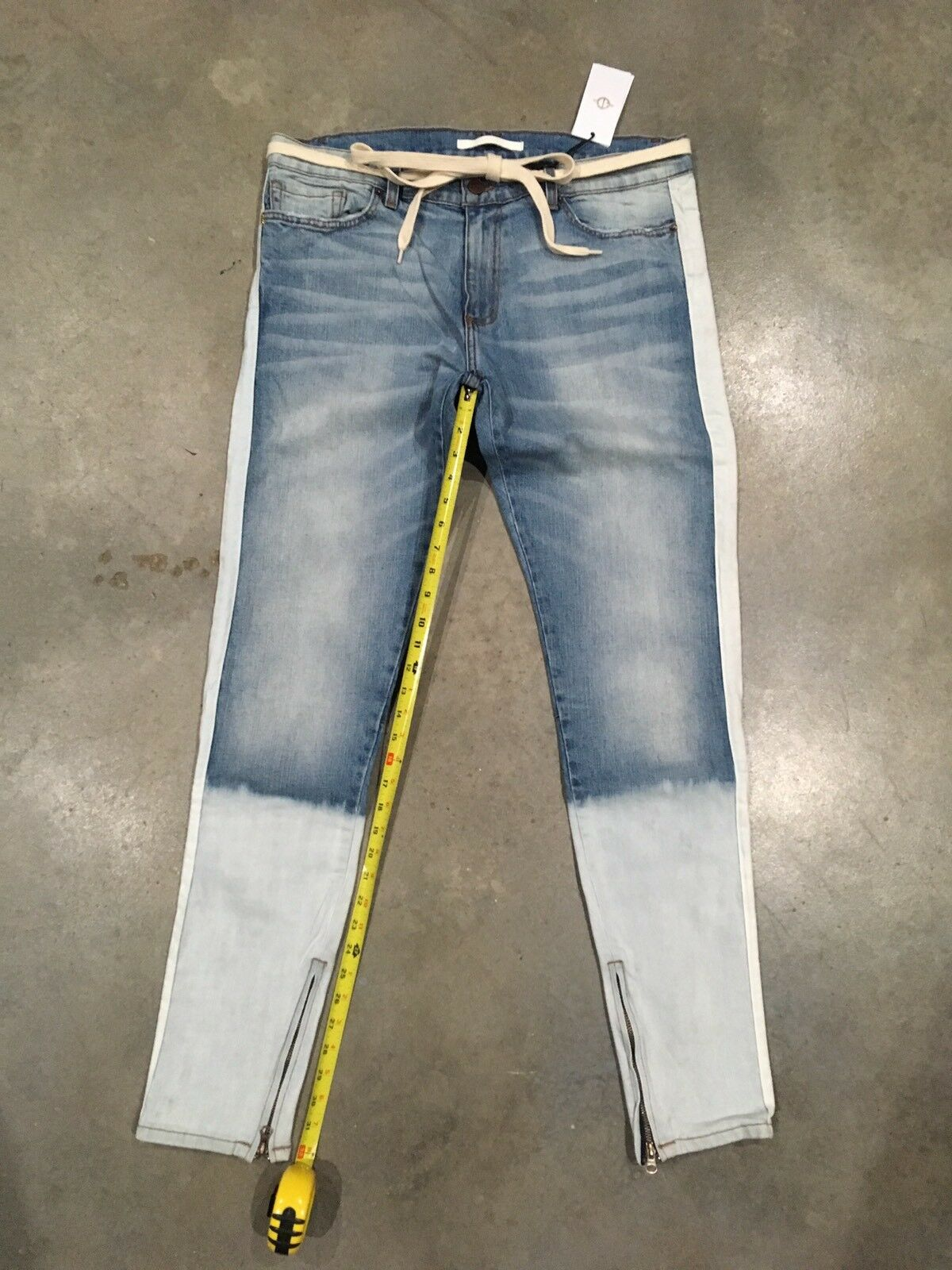 golden Denim Light Wash bleach Fade Tapered Jeans Sz.38 NWT 100% Authentic