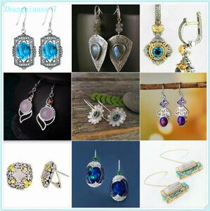 Women-925-Silver-Plated-Gemstones-Dangle-Drop-Wedding-Bridal-Jewelry-Earrings