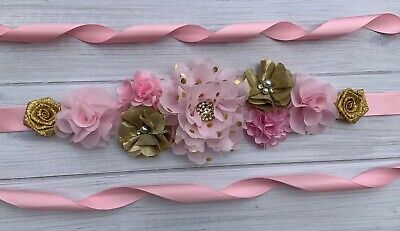 Pink White Gold Twinkle Twinkle Little Star Maternity Sash Belt //Baby Shower