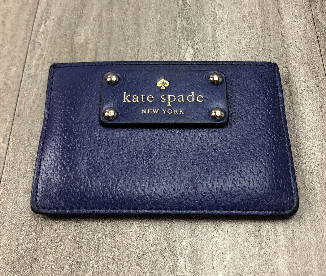 Kate Spade Card Holder Carrier Blue Leather Cameron Staci Wallet Slim Card Case
