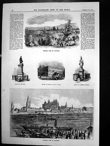 Old-Potsdam-Cologne-Statue-Blucher-Prince-Prussias-Palace-Berlin-1858-Victorian