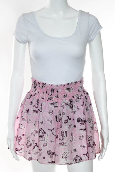 Piamita Pink Cotton Abstract Print A Line Skirt Size Medium  255 New 115573