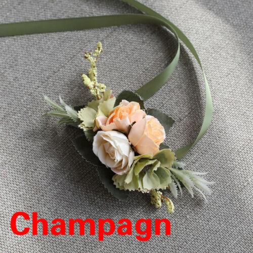 Bride Wrist Corsage Sister Hand Flower Groom Boutonniere Men Wedding Party