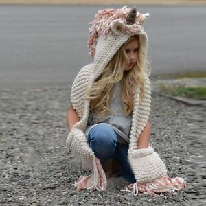 dd912bd044f Image is loading Girls-Kids-Crochet-Cartoon-Unicorn-Winter-Hat-with-