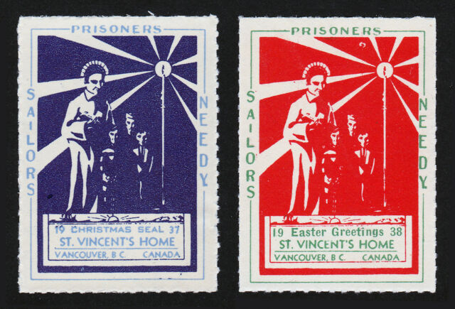 REKLAMEMARKE POSTER STAMPS ST VINCENT'S HOME SAILORS PRISONERS NEEDY VANCOUVER