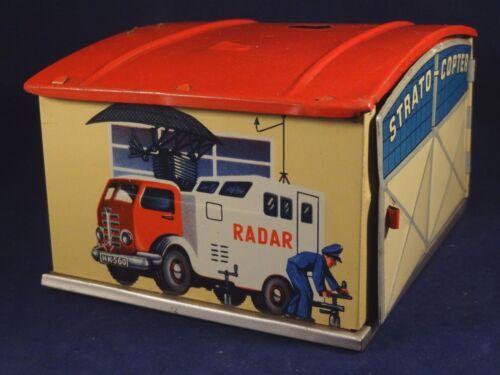 Ancien jouet garage hangar tôle lithographié Huki HK 560 W.Germany an. 50 Radar
