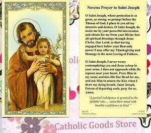 st joseph with novena prayer to saint joseph paperstock holy card