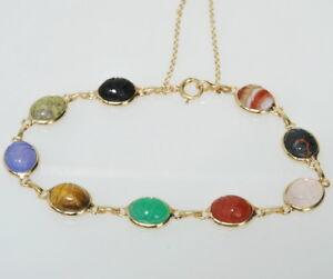 Ladies-14k-Yellow-Gold-Scarab-Onyx-Carnelian-Chrysoprase-Tiger-039-s-Eye-Bracelet