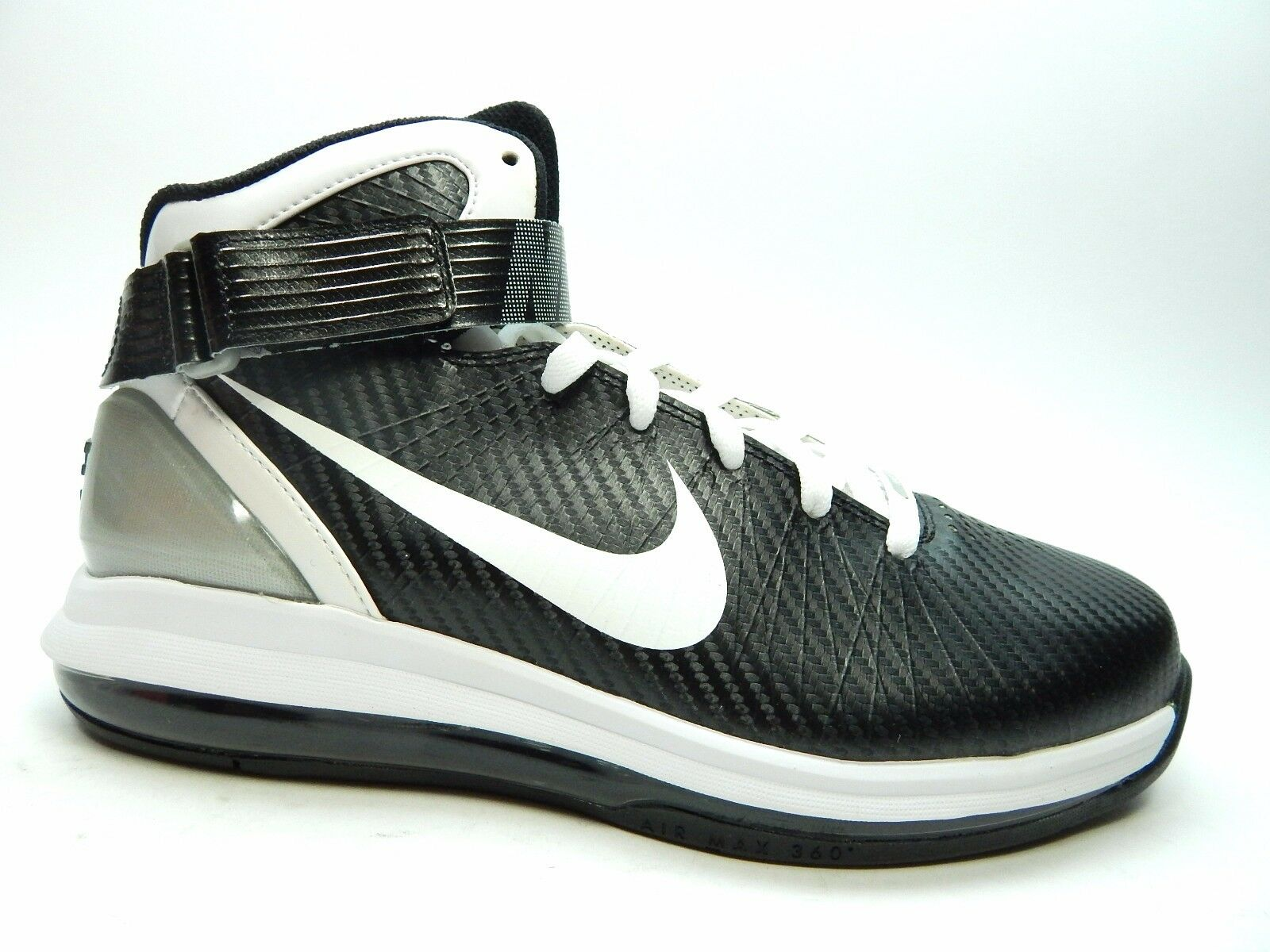 6697da4abb5b NIKE AIR MAX HYPERDUNK 2010 NEW WITH BLACK DEFECTS BLACK WITH WHITE MEN  SHOES SIZE 8