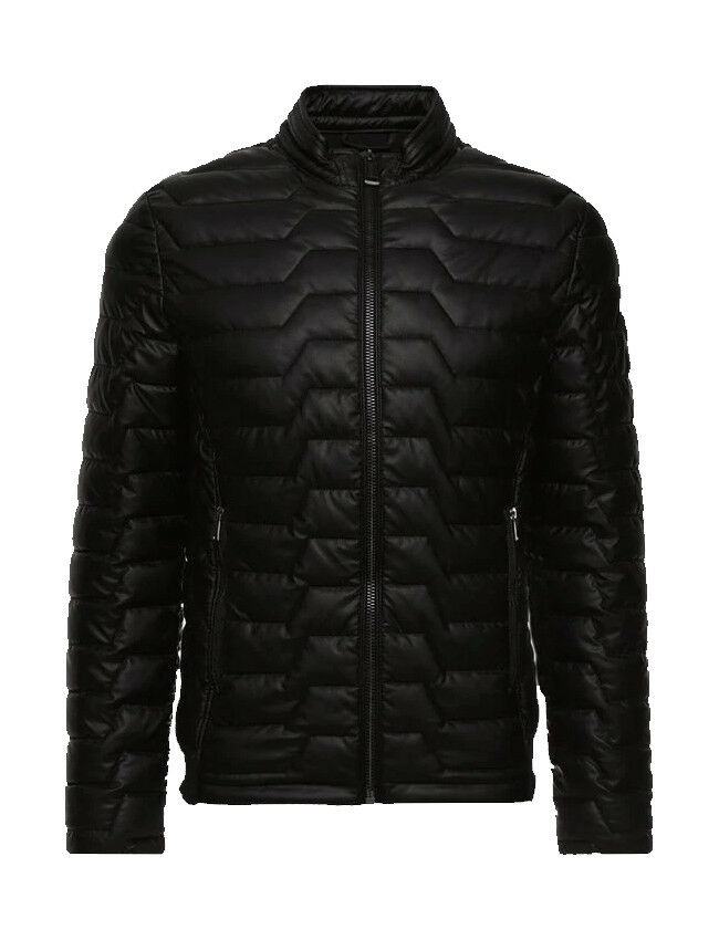 GIACCA ECOPELLE GUESS BOMBER IMBOTTITO ECO-LEATHER STRETCH - NERO - M84L36