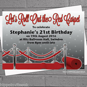 Image Is Loading Personalised Roll Out Red Carpet Birthday Party Invitations