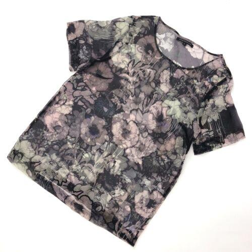 T Women Sheer shirt M Kane Silk Organza Floral 6 Us4 Uk10 Blouse Top Christopher 8xqw8