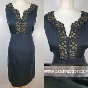 Boden-Limited-Edition-Black-Floral-Embellished-Beaded-Fitted-Shift-Dress-Size-12