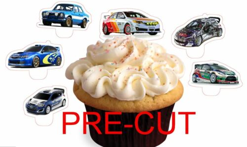 RALLY CARS X24 edible stand up cup cake toppers wafer paper cut
