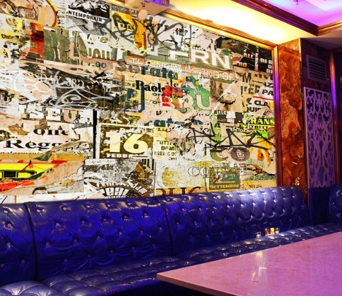 3D Graffiti.Couleur Photo Papier Peint en Autocollant Murale Plafond Chambre Art