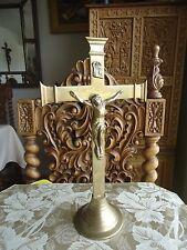 Vintage Brass Altar Cross Table Standing Crucifix Jesus Cross Catholic Religious