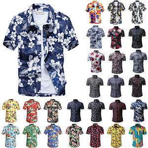US-Mens-Short-Sleeve-Hawaiian-Shirt-Summer-Casual-Beach-Holiday-Floral-Slim-Tops