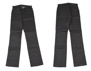 Nudie Slim Jim Sec Enduit Noir Jeans Jambe Droite Hommes Jean W28