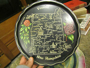 VTG. VERMONT NEW HAMPSHIRE SOUVENIR METAL TRAY
