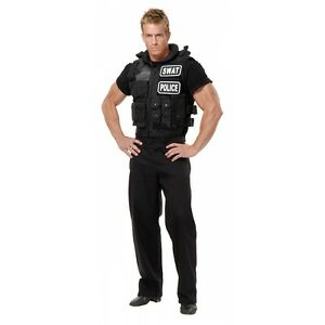 Image is loading SWAT-Team-Vest-Costume-Accessory-Adult-Police-Cop-  sc 1 st  eBay & SWAT Team Vest Costume Accessory Adult Police Cop Halloween Fancy ...