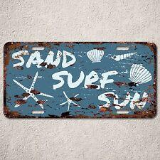 LP0110 Sand Surf Sun Beach Sign Auto License Plate Rust Vintage Home Store Decor