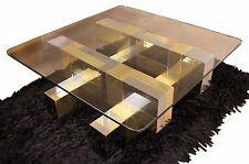 Mid Century Modern Paul Evans Cityscape Chrome Brass Glass Coffee Table 1970's