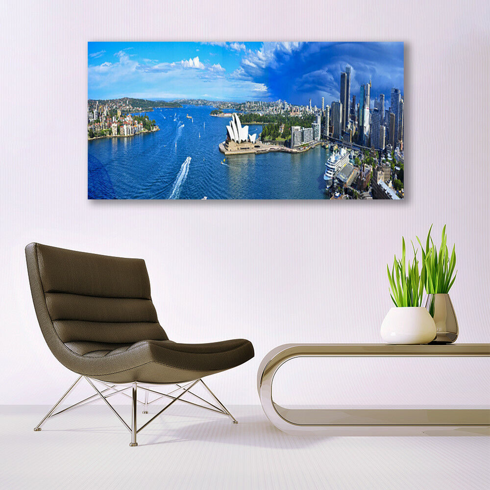 Print on Glass Wall art 140x70 Picture Image Image Image Sea Town Houses 43ba66