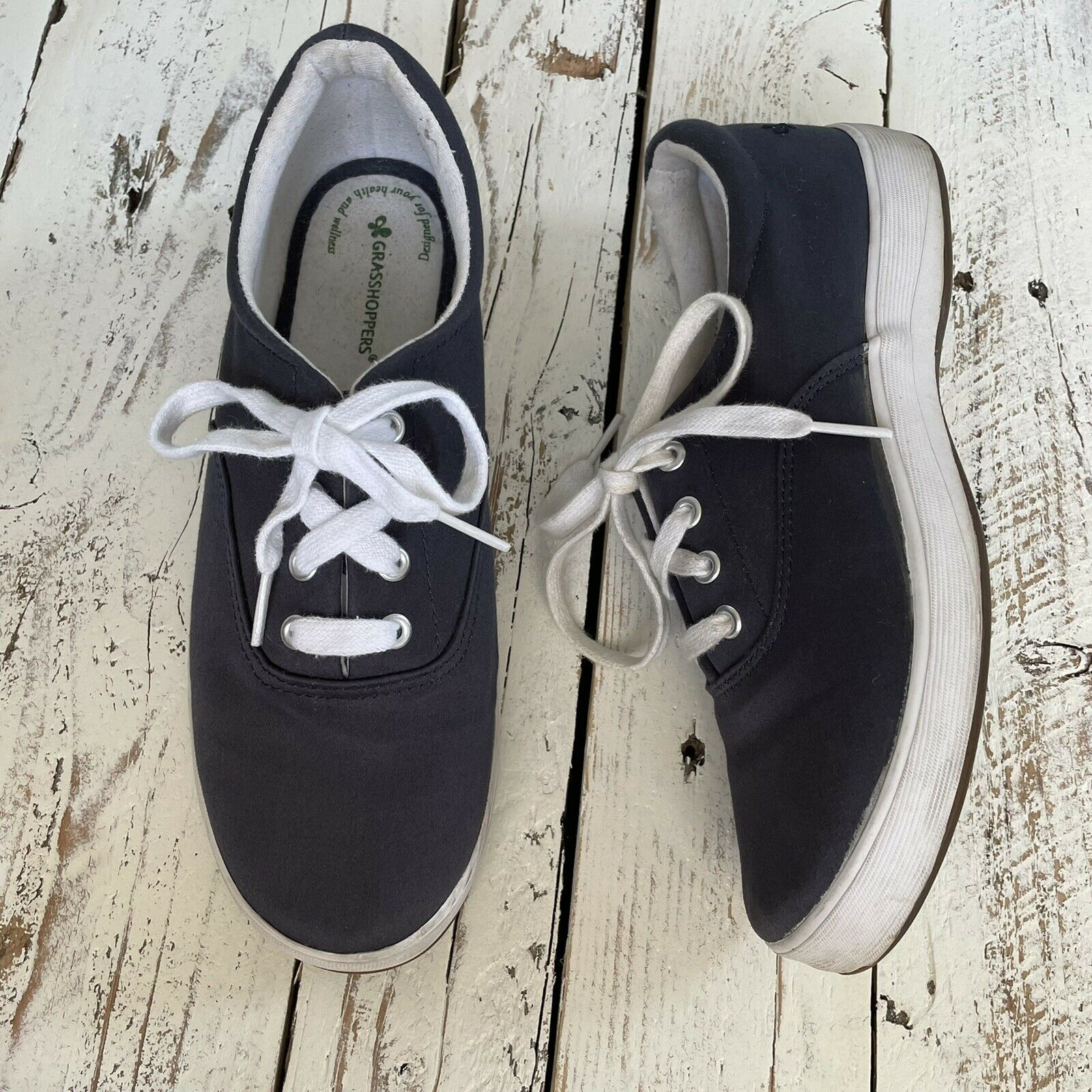 Grasshoppers Ortholite Janey Navy Blue Twill Stretch Womens Sneakers size 6.5