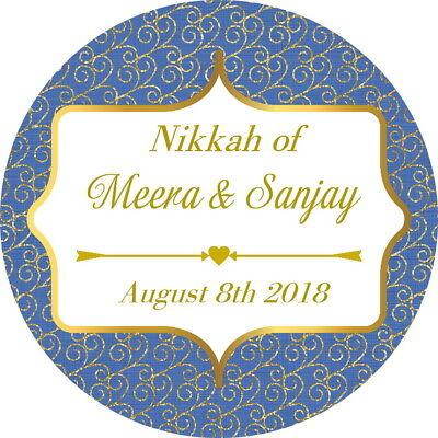 Devoto Personalised Gloss Mehndi Mendhi Nikkah Matrimonio, Grazie Adesivi Teal/oro- Con Il Miglior Servizio