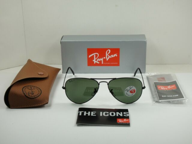ee7d57614e9 Ray Ban RB 3025 W3361 Aviator Black Green Polarized Sunglasses 58mm ...