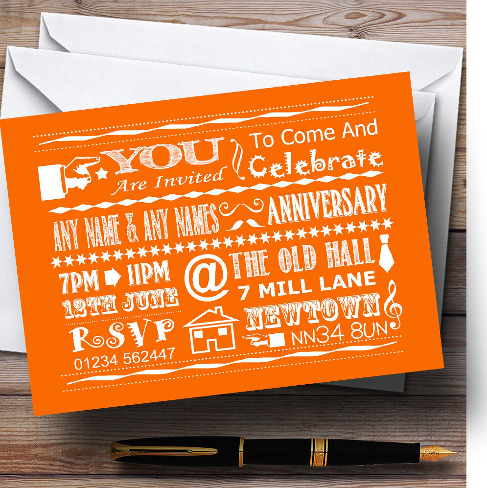 Cool Fun Chalk Typography Orange Personalised Anniversary Party Invitations