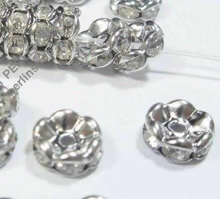 50 Glas Strass Rondell Spacer Metallperlen 6mm SILBER KLAR Rhinestone BEST R25